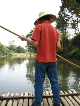 Thailand, raft, journey, Chiang Mai, steering boat, steering raft, river raft, Thailand river raft, boy on raft, travel