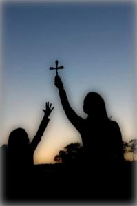 girl hand cross, woman holding cross, silhouette cross