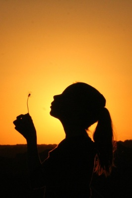 sunset girl, girl blowing dandelion, girl in sun, silhouette girl, hope