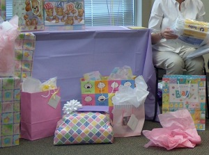 presents, gifts, shower, baby shower, expectant mom, adoption shower, birthday party, nine year pregnancy