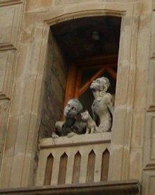 waiting, hoping, praying, girl boy cat statue, boy and girl waiting, boy and girl watching, boy and girl at window, statue in window, boy and girl looking at sky