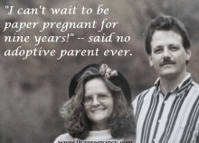 adoption, paper pregnancy, waiting couple